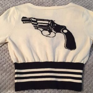 Betsey Johnson vintage gun cardigan